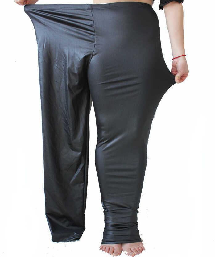 5c68a26c33 XXXXXL Plus Size women leggings 5xl Matt Leather Leggings High Elastic Faux  Leather Leggings Pants Calca