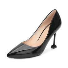Brand Woman Patent Leather High Heels Ladies Pointed Toe Shoes 9.5CM Heels Pumps Sexy Black Office Work Shoes Stiletto MS-A0022 недорго, оригинальная цена