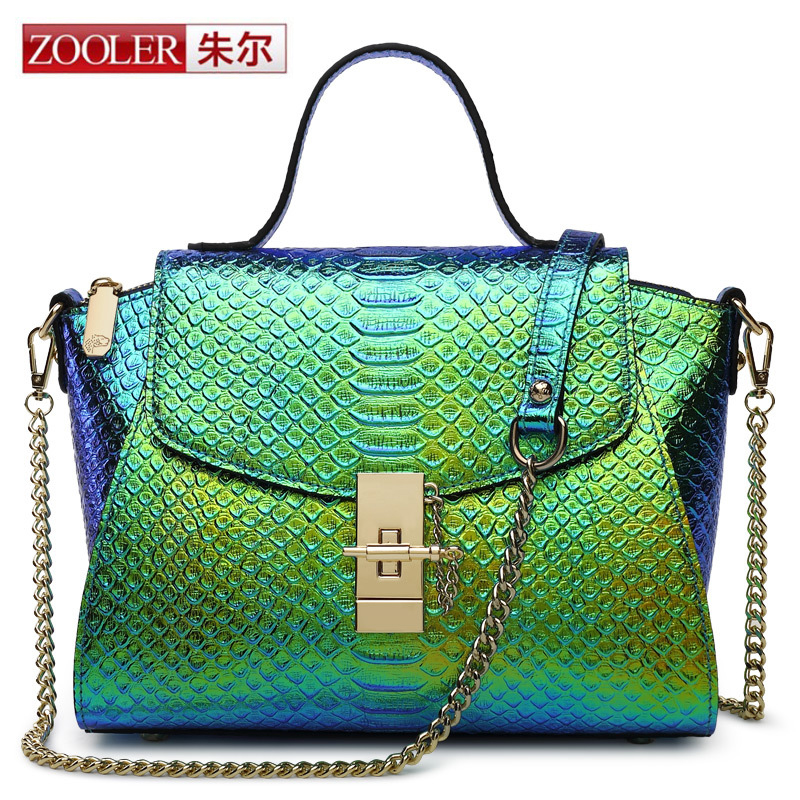 ZOOLER Women Luxury Genuine Leather Bags Handbags Chain Shoulder Bag Europe Design Female Crocodile Wing Package