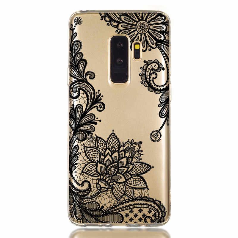 กรณีสำหรับ Coque Samsung Galaxy S10 S10E S8 S9 Plus A6 J4 J6 Plus A7 A9 2018 J3 J5 2017 Retro ดอกไม้นุ่มซิลิโคน