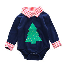 ARLONEET Newborn Christmas long sleeve rompers Baby Boy Girl Plaid Christmas Tree Romper Clothes Outfits L1001(China)