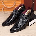 men fashion wedding nightclub dress bright patent genuine leather shoes point toe lace up oxfords shoe comfort popular footwear