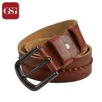 GSG Men Brand Belt Genuine Leather Belts Cowhide Leather Men Belts With Pin Buckle Handmade Woven