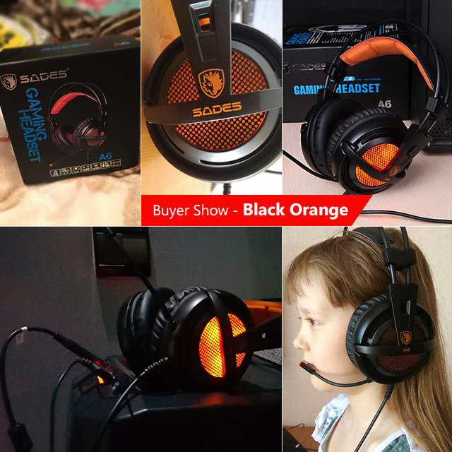 SADES A6 USB 7.1 Stereo wired gaming headphones game headset over ear with mic Voice control for laptop computer gamer 3