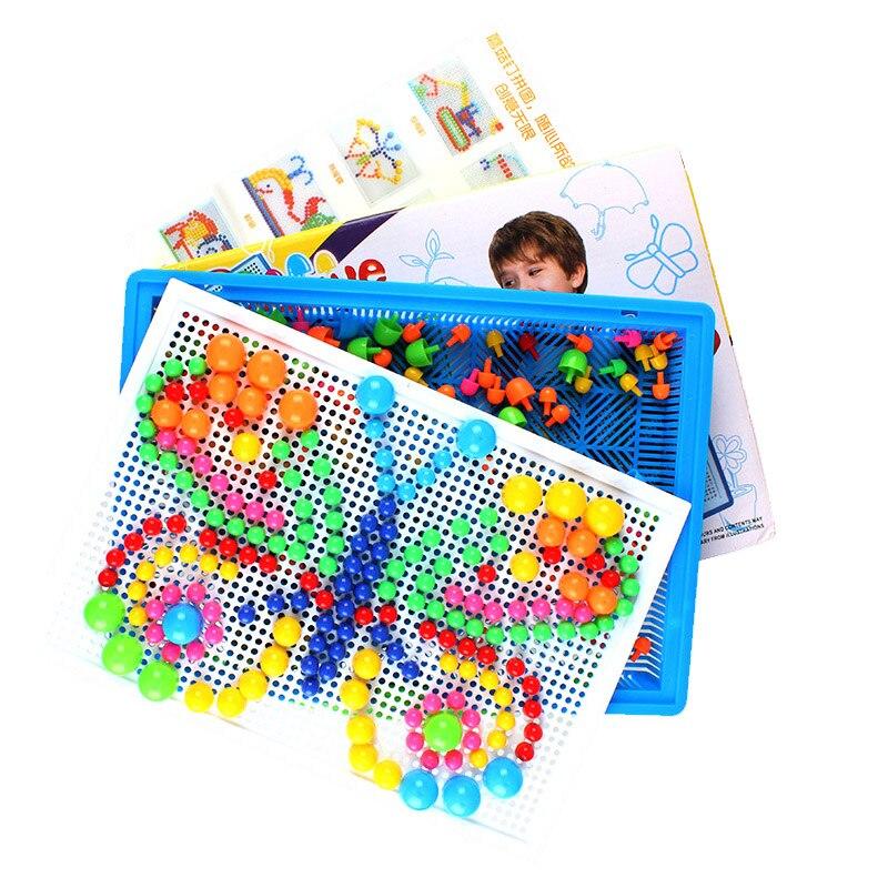 Boîte-emballé 296 Grain champignon ongles Puzzle joint conseil jouet en plastique enfants bricolage main Illustration éducative en Bord WJ287