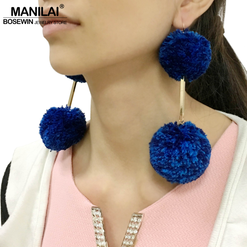 MANILAI 4 Colors Bohemia Handmade Pompom Ball Statement Earrings For Women Fashion Jewelry Big Dangle Drop Earrings Long Brincos ...