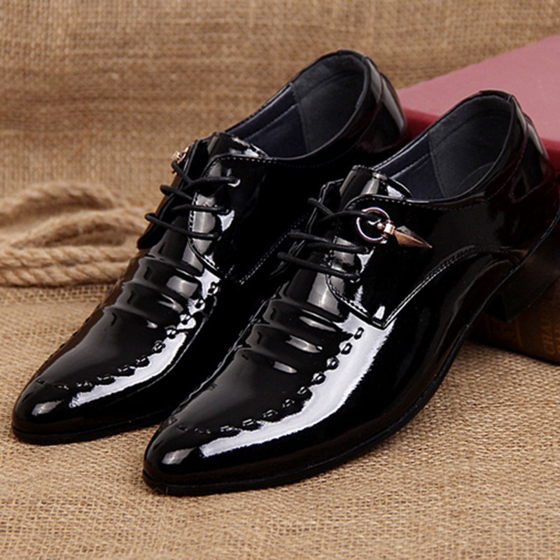 2017 Spring Hot Sale Men Work Business Leather Dress Shoes Pointed Toe Lace-up Casual Patent Leather Wedding Shoes EU Size 37-44 tba hot sale luxury brand men s office career business breathable casual winter and autumn male lace up pointed toe flats shoes