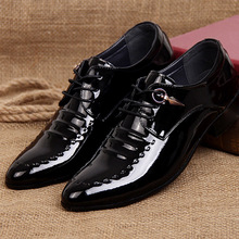 2017 Spring Hot Sale Men Work Business Leather Dress Shoes Pointed Toe Lace-up Casual Patent Leather Wedding Shoes EU Size 37-44