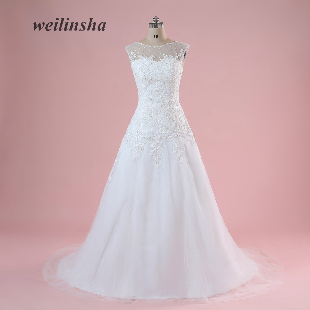 weilinsha Plus Size Chiffon Empire Wedding Dresses With Appliques ...