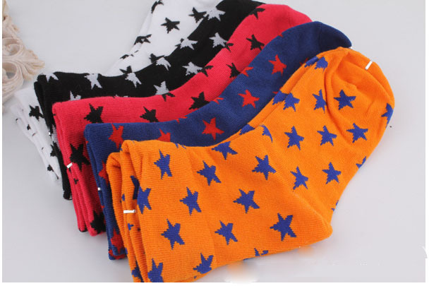 Free shipping Pentagram socks cotton socks fashion women short socks