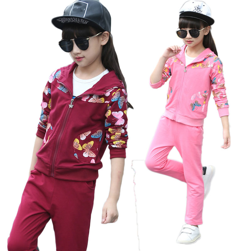 V-TREE Spring girls clothing sets costume for kids tracksuit girl sport suit children school uniform for teenagers clothes set retail 2pcs brand new design girls clothing sets for kids autumn tracksuit for girls velvet jacket pants children sport suit