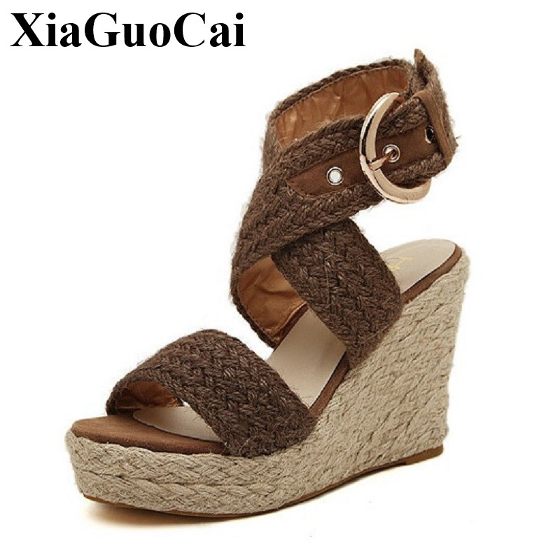 Summer Women Sandals Bohemia Style High Wedges Heels Wovens Gladiator Sandals with Platform Open Toe Casual Shoes Women H162 35