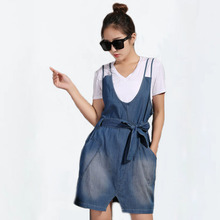 2017 Summer Fashion Cotton Denim Camis Dress Women Bow Waist Jeans A line Overalls Dress Blue, M/L