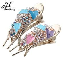 Haimeikang Vintage Hair Accessories Women Rhinestone Rose Flower Hairpin Headwear Fashion Hair Clip Barrettes Headdress