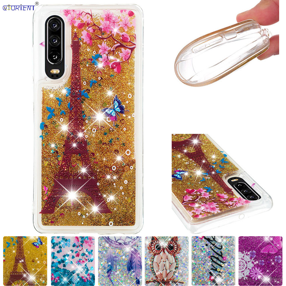 Silicone Case for Huawei P30 P 30 Bling Glitter Cover ELE-L09 ELE-L29 Cute Dynamic Liquid Quicksand Soft Phone Cases ELE L09 L29