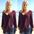 Women Long Sleeve Loose Pullovers Knitted Sweater Jumper Knitwear Outwear Coat Size S M L XL