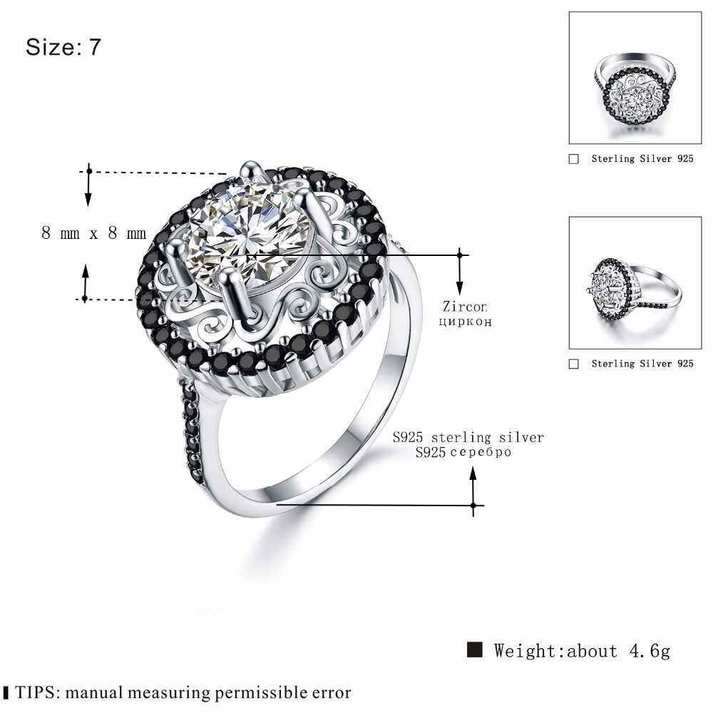 [ĐEN AWN] 925 Sterling Silver Bạc Đồ Trang Sức Mỹ Hợp Thời Trang Flower Engagement Rings đối với Phụ Nữ Đen Spinel Nhẫn Cưới C046
