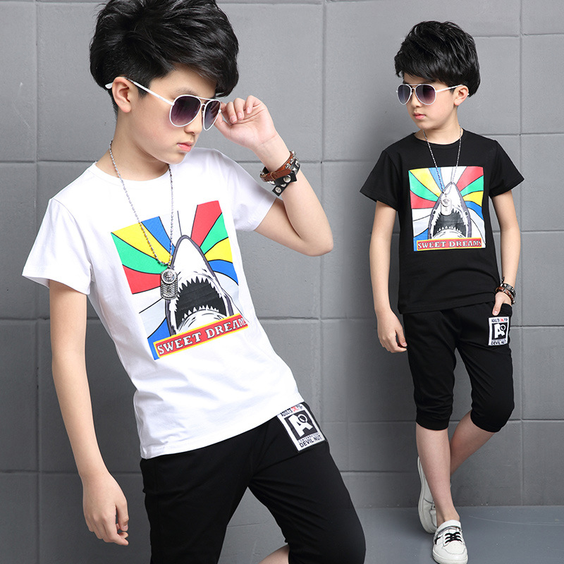 Boys Summer Sets for 5 15 Years Kids Sharks T shirt Knee pants 2 Pieces Boys