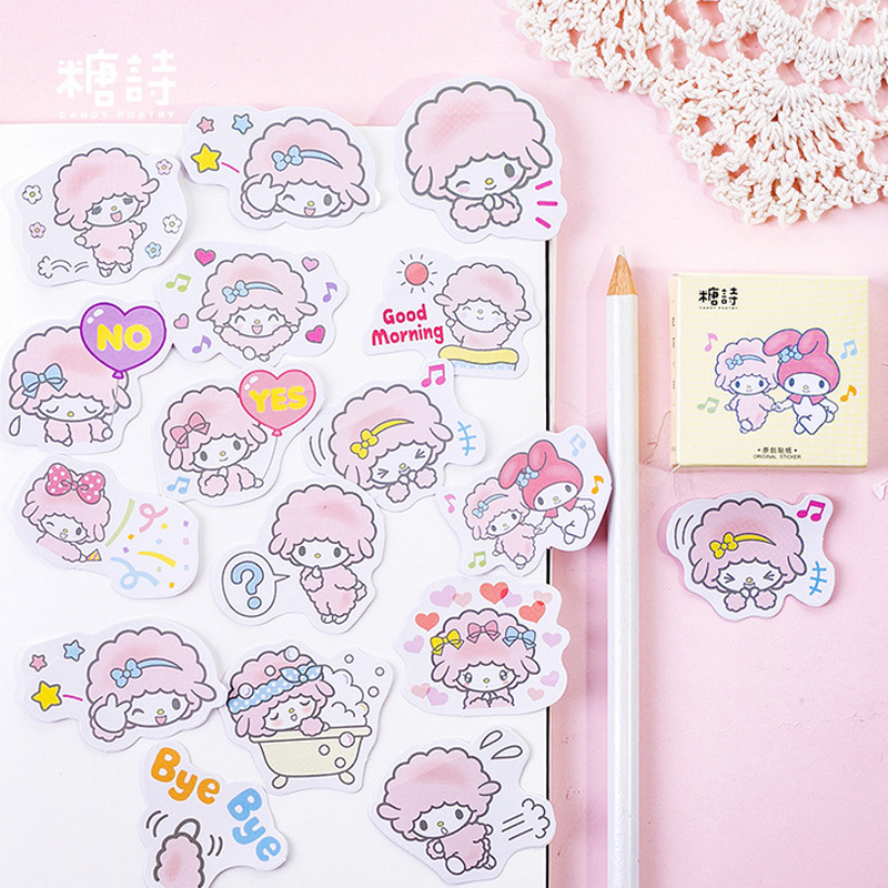 45 Pcs/Box Cute Cartoon Cotton Sheep Animal Mini Decoration Paper Sticker Decoration DIY Album Diary Scrapbooking Label Sticker