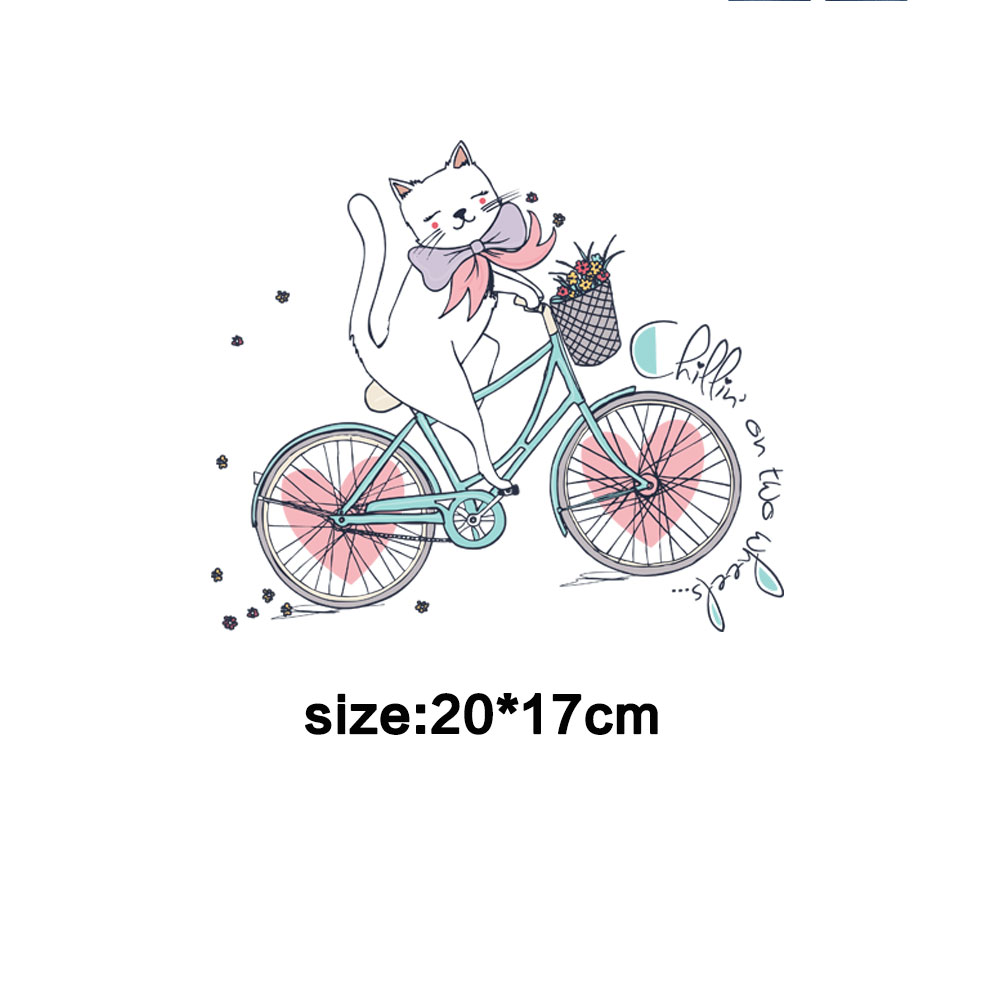 cute bicycle cat ironing sticker patches for clothing transfert thermocollants t shirt girls women clothes bag diy applique ropa in Patches from Home Garden