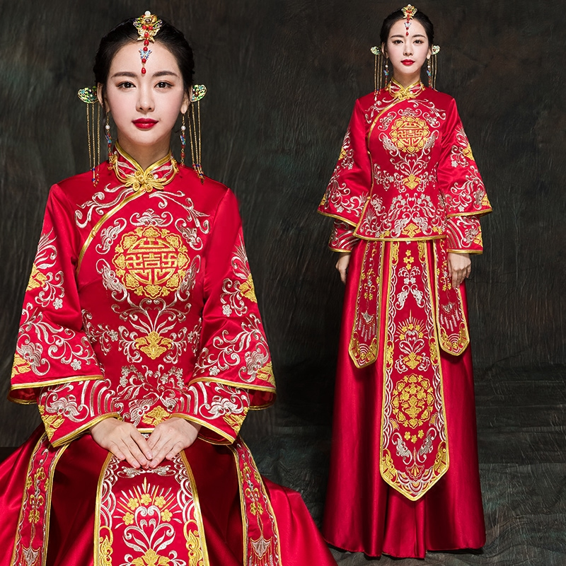 Chinese characteristic wedding Show bride evening clothes pratensis marriage dress chinese style vintage long-sleeve autumn