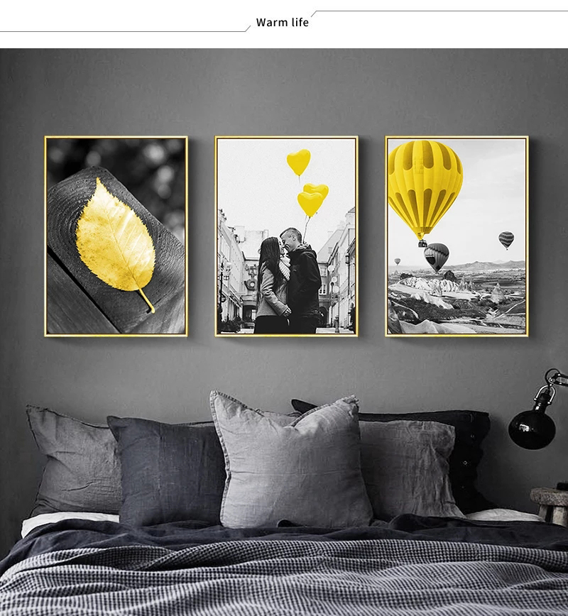 Black and White Photograph Landscape Picture Home Decor Nordic Canvas Painting Wall Art Yellow Scenery Art Print for Living Room