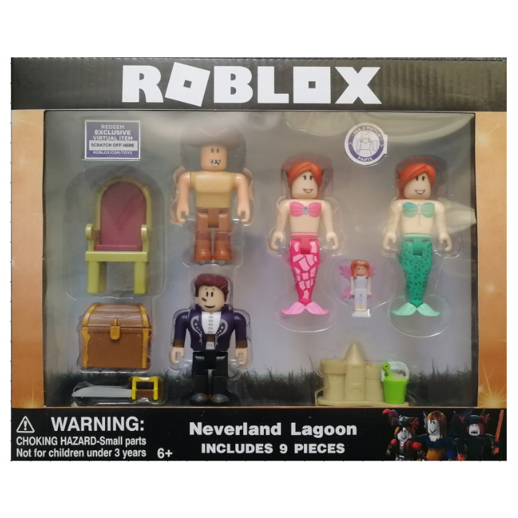 4-6pcs/set New Arrivals 2018 Cartoon Game Roblox Figma Oyuncak Mermaid Action Figure Toys with Weapon Kids Collection Ornaments