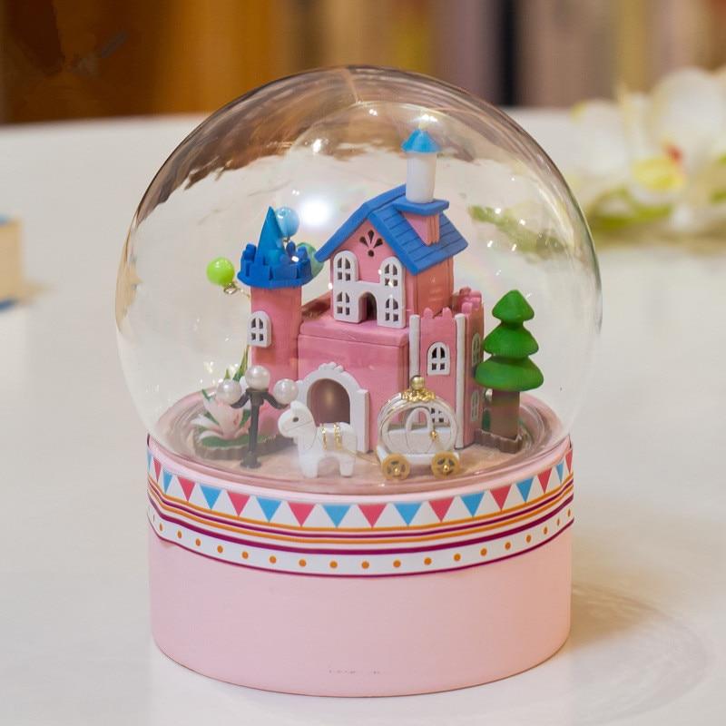 DIY Hear Happiness Glass Ball Dollhouse Mini Castle Building Kits Wooden Furniture Handmade Assembling Miniatura Creative Gift 1