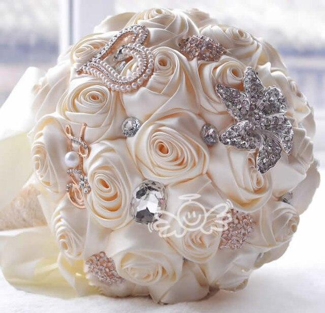 Hot sale 2016 in stock Stunning Wedding flowers White Bridesmaid Bridal Bouquets artificial Rose Wedding Bouquet Buque De Noiva
