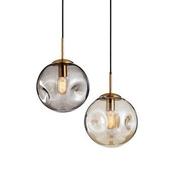Vintage Post-modern Amber/Grey Bump Glass Ball E27 Pendant Light for Dining Room Bedroom Bar Foyer 25cm 110/220V 2291