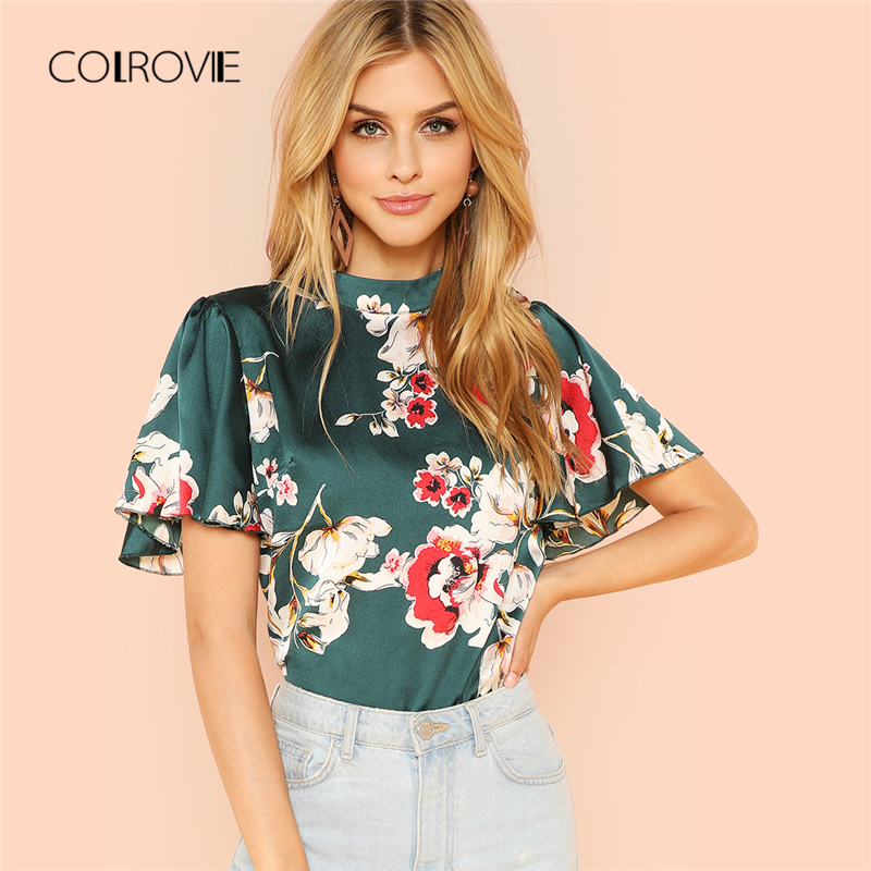 COLROVIE Stand Collar Keyhole Back Floral Blouse Shirt Summer Butterfly Sleeve Workwear Blouse Elegant Women Clothing
