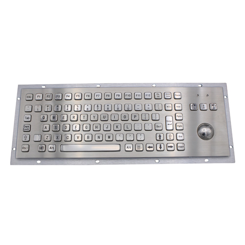 IP65 Kiosk Metal Industrial Keyboard With Trackball Stainless Steel USB Keypad Metal Rugged Keyboard For Self