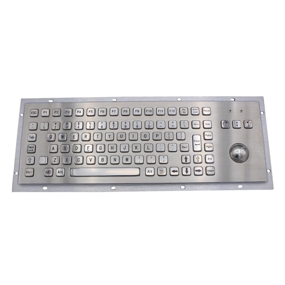IP65 Kiosk Metal Industrial Keyboard With Trackball Stainless Steel USB Keypad Metal Rugged Keyboard For Self Service Kiosk