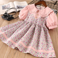 Hurave New Baby Girl Clothes Children Summer Flowers Short Lantern Sleeve Dress Kids Clothes Print Princess