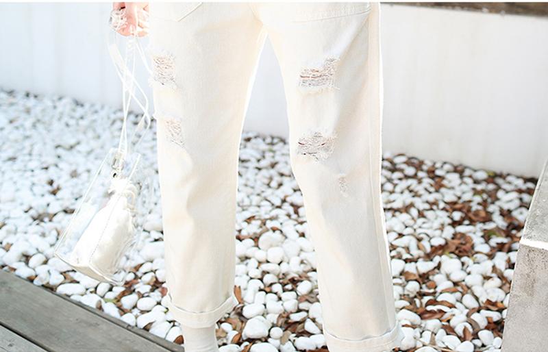 Denim Jumpsuit Women Solid Hole Jeans Jumpsuit Rompers Women Korean Fashion Suspender Monos Largos Mujer Pantalon Largo Overalls 19