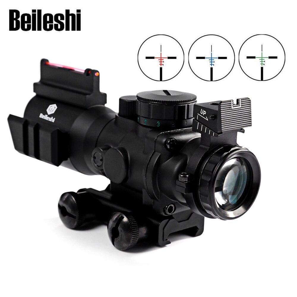 Beileshi tactique 4X32 lunette de visée Fiber de vue 20 MM Rail Fiber optique tactique vue pour fusil de chasse fusil Airsoft Sniper Air Gun