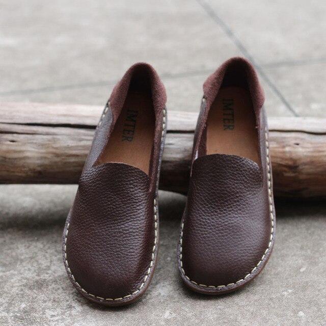 2016 осень женщина бренд натуральной кожи Оригинальный ручной женщина плоские туфли мелкая рот круглый комфортно ретро искусство обувь