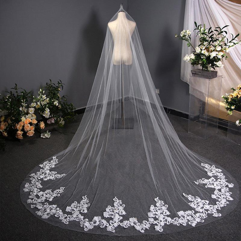 Veu De Noiva Longo Lace Appliques One Layers 3M Long Veils Wedding Veils 2019 With Comb Wedding Accessories Bridal Veils