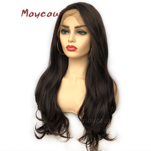 #4 Color Long Wavy Synthetic Lace Front Wig Free Part Heat R