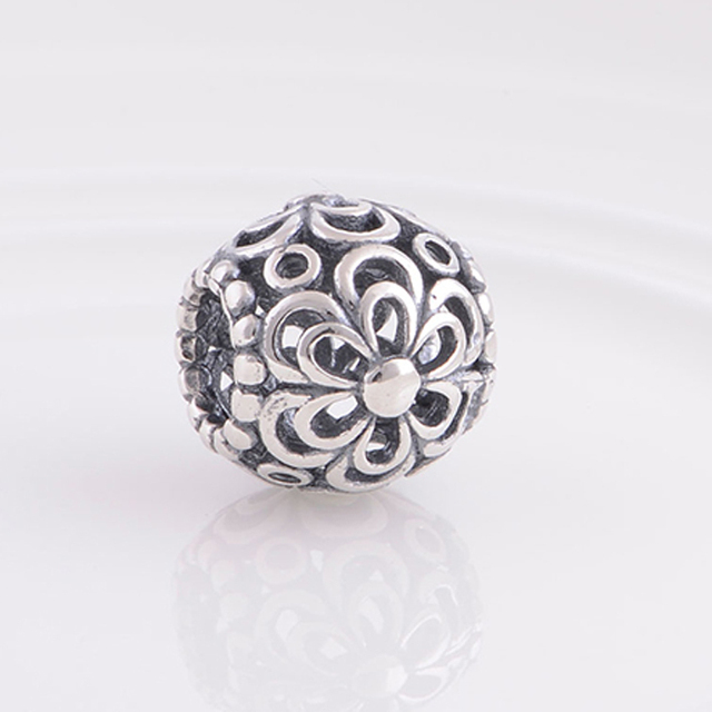 Free Shipping Fits Pandora Bracelet Charms 925 Sterling Silver Bead Openwork Flower Charm Floating Diy Women