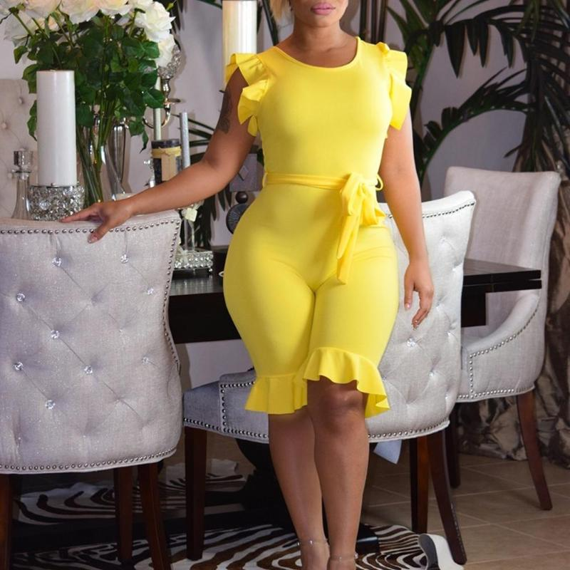 Sexy Ruffle Sleeve Fashion Women Solid Color One-Piece Romper Bodycon Big Size Casual Female Summer O-Neck Jumpsuit with Belt
