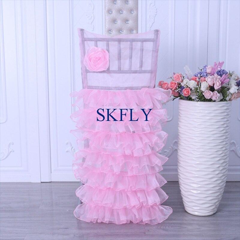 Ch107a Neue 2019 Einzigartige Phantasie Kostenloser Versand Hochzeit Viele Schichten Rüschen Baby Rosa Organza Stuhl Abdeckung Mit Rose Folower