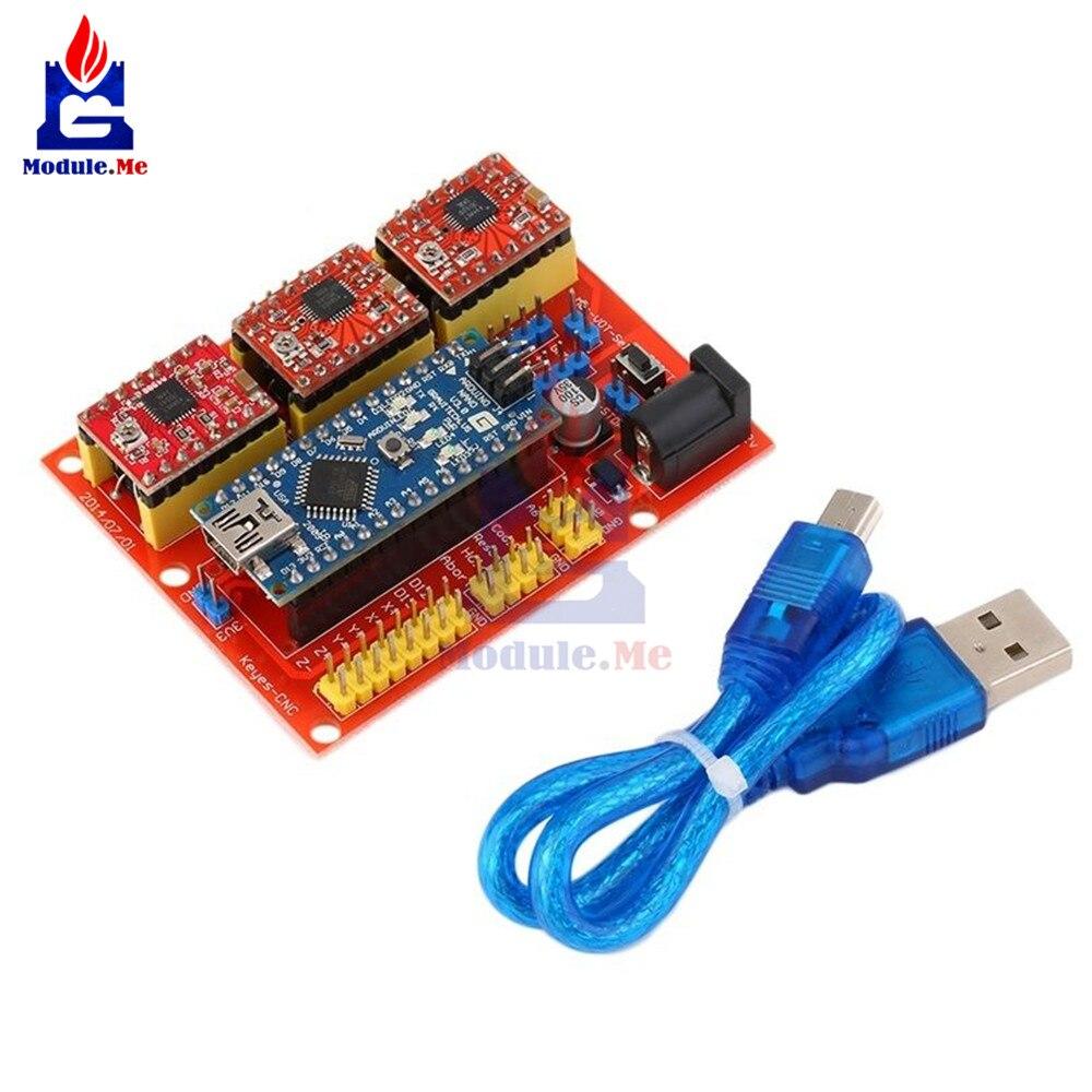 CNC Scheda di Espansione Shield V4 Nano V3.0 Modulo 3 * A4988 Reprap Passo Passo del Driver Kit con Cavo Micro USB per arduino 3D Stampante
