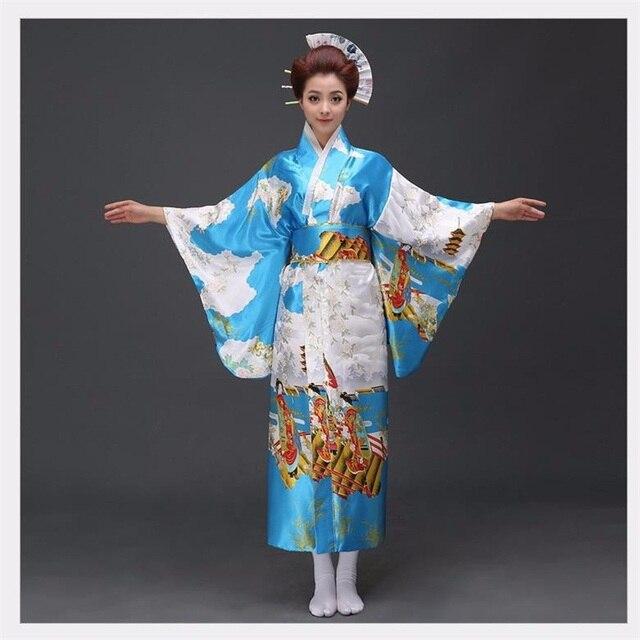 Японский Сексуальная Кимоно Хаори Юката С Оби женская Атласная Новинка Платье Танца Костюм Цветочный Один Размер