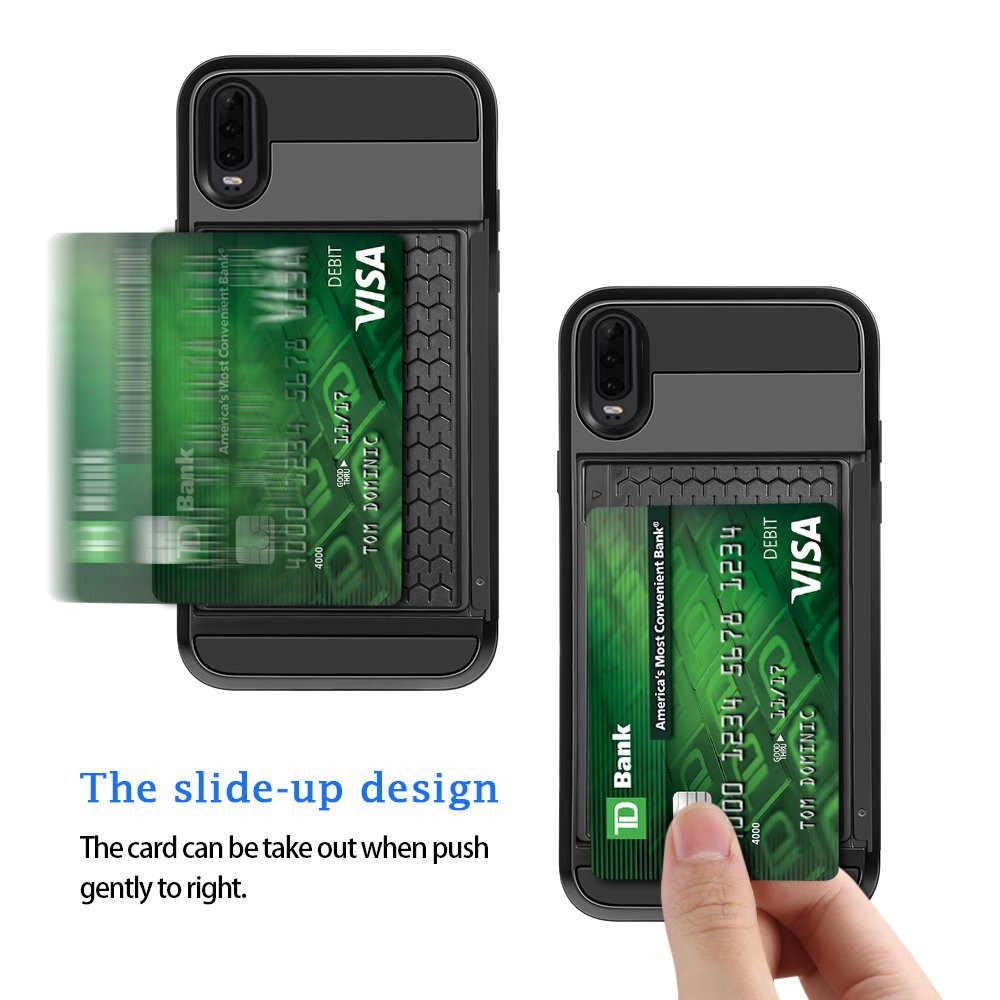 Huawei P20 P30 Pro Lite P akıllı 2019 durumda cüzdan kart yuvası sürgülü kapı gizli cep kılıfı için Huawei P akıllı 2019 P20 P30