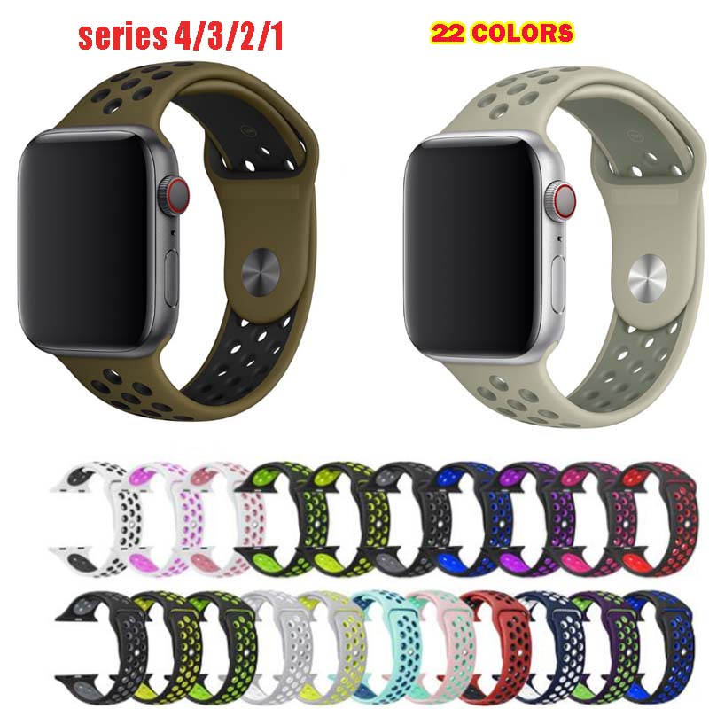 Silicone Sport Straps For Apple Watch Band Series 5 4 Soft Rubber For Iwatch 3 2 1 Wristband Bracelet 38mm 40mm 42mm 44mm Band Strap Strap Braceletstrap Band Aliexpress