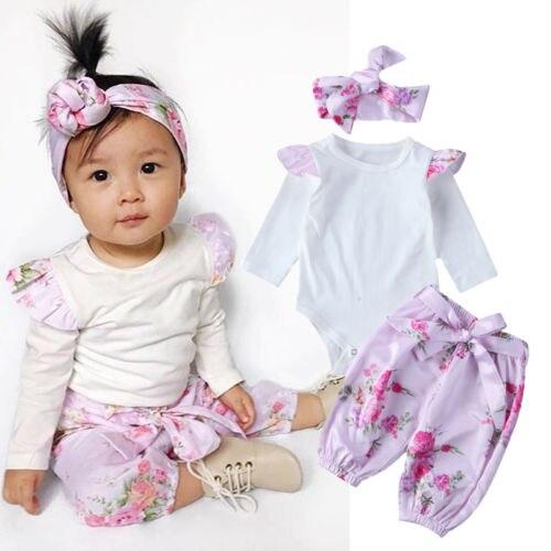 Newborn Infant Baby Girls Floral Jumpsuit Romper Bodysuit Pants Headband 3PCS Outfits Clothes