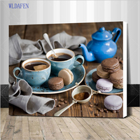 Assembly Frame Coffee Cake DIY Painting By Numbers Modern Home Wall Art Picture Kits Acrylic Handpainted