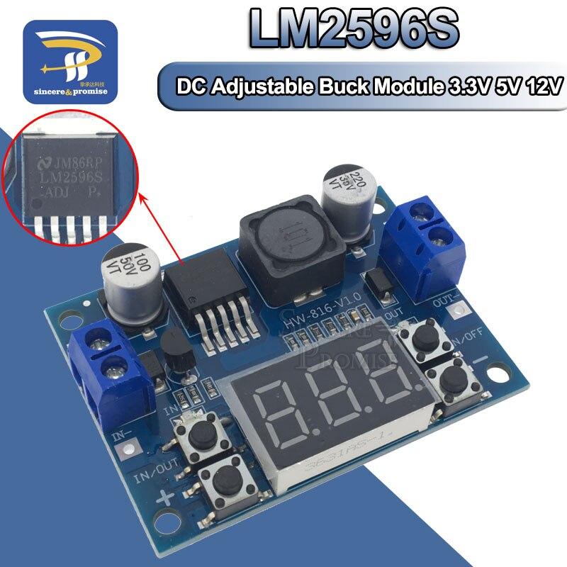 Понижающий Регулируемый блок питания LM2596, 3 А, светодиодный цифровой вольтметр, 3,3 В, 5 В, 12 В, LM2596S