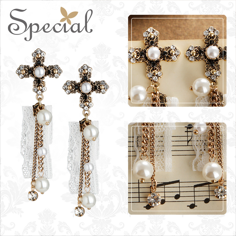 Special European and American s925 Tremella needle cross lace tassel earring ear nail showing face thin angel wedding dress in Drop Earrings from Jewelry Accessories